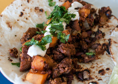 Chorizo, Sweet Potato & Black Bean Tacos