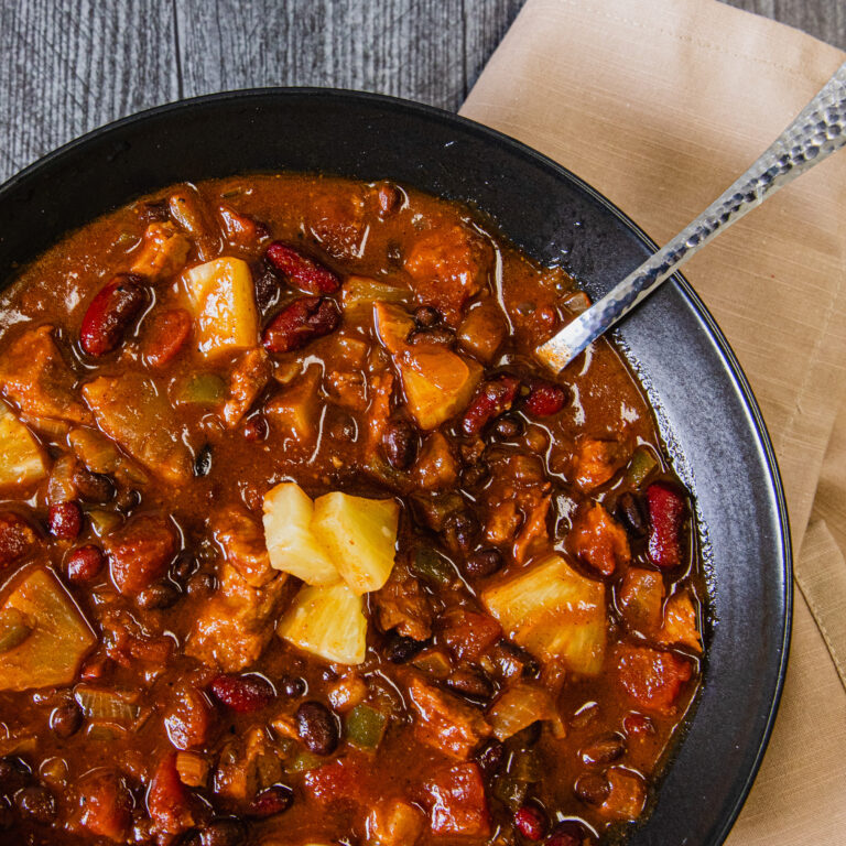 Pineapple Express Vegan Chili made with No Evil Foods Pit Boss BBQ Pulled Pork