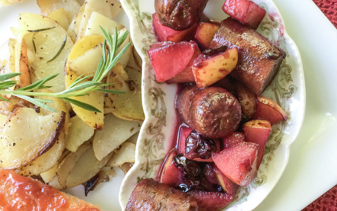 Maple Poached Apples & Italian Sausage