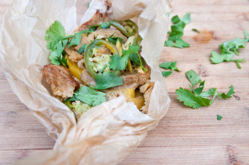 Vegan Mango Ginger Chicken in parchment paper