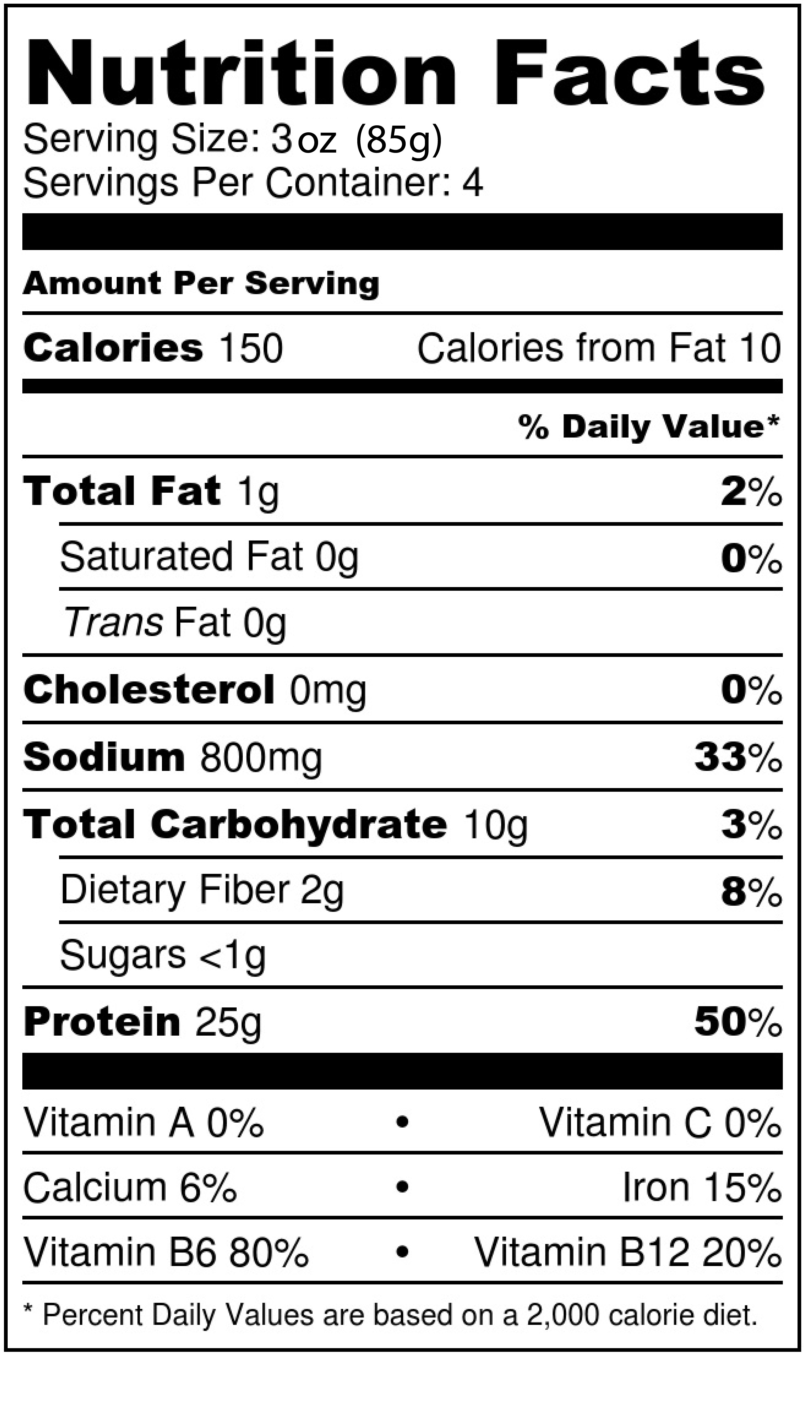 The Prepper Nutritional Information