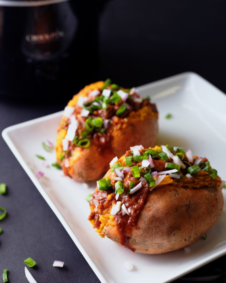 BBQ-Stuffed Sweet Potatoes and Slow Cooker