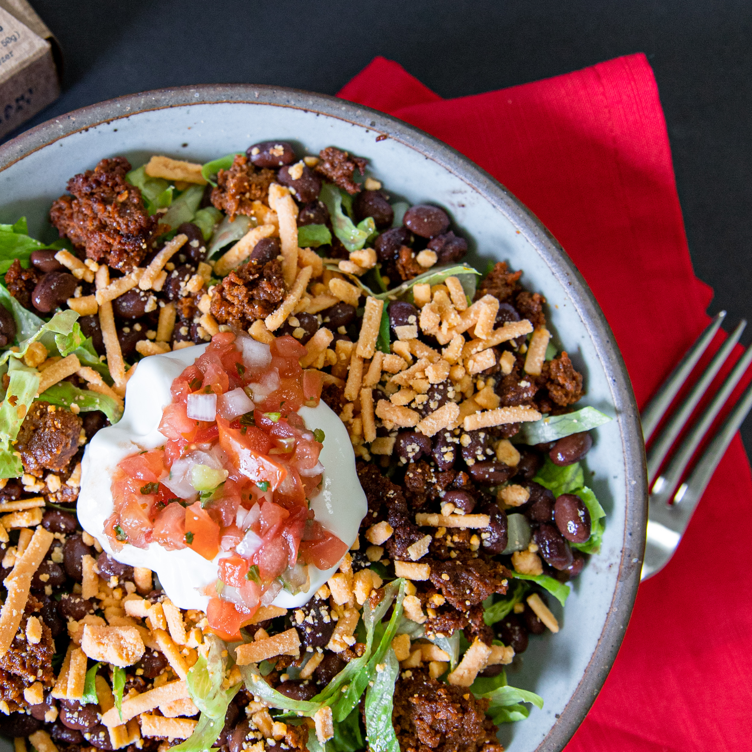 Vegan taco salad made with No Evil Foods El Capitan Chorizo Crumbles