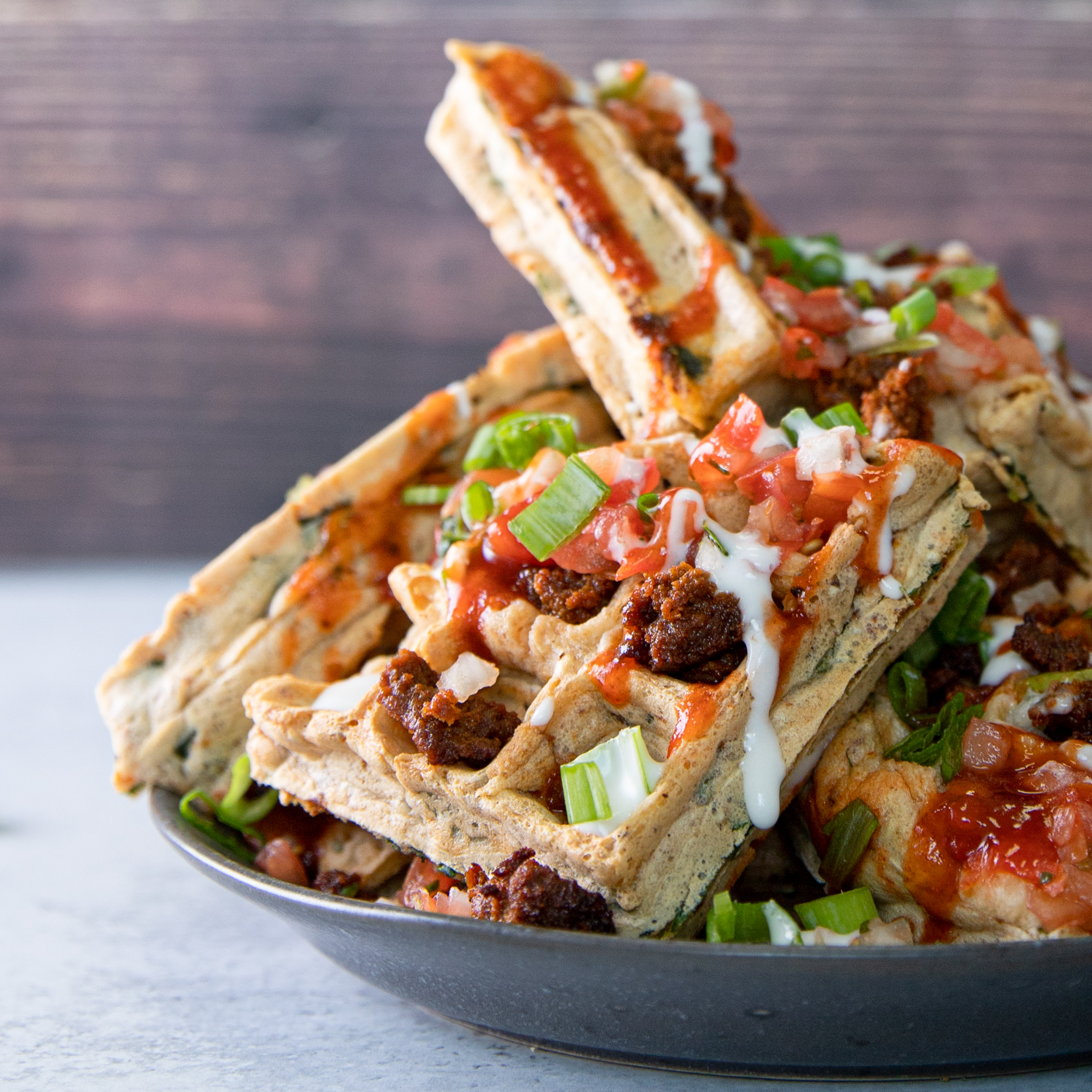 Vegan savory waffles made with No Evil Foods El Capitan chorizo