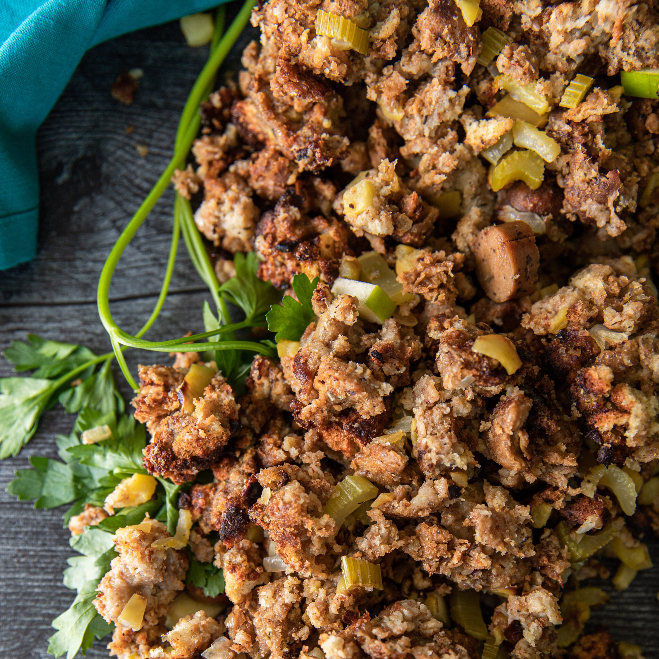 Vegan stuffing for Thanksgiving made with No Evil Foods The Stallion Italian Sausage