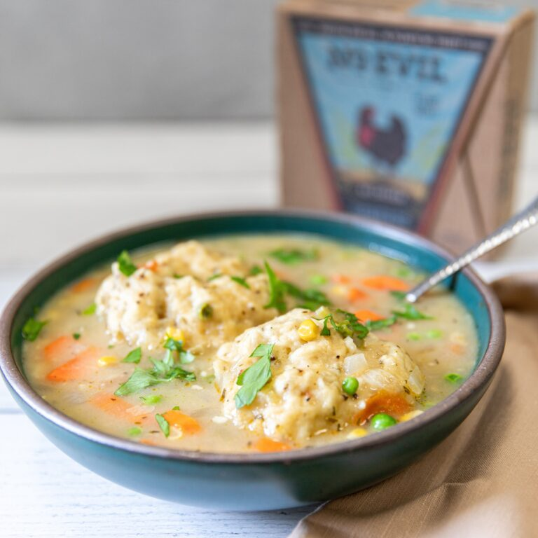 Vegan chicken and dumplings soup made with No Evil Foods Comrade Cluck 'No Chicken'