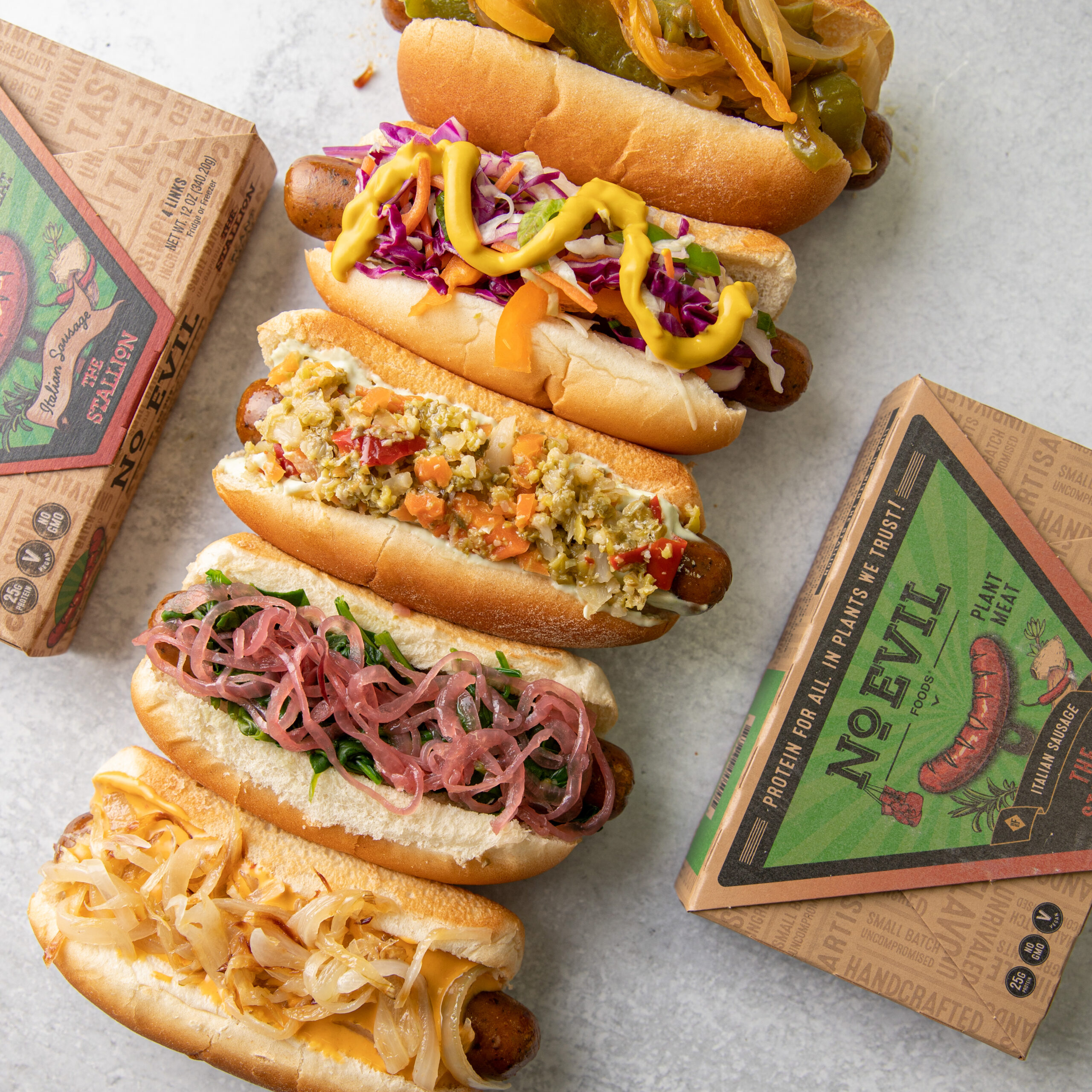 No Evil Foods The Stallion Italian 'Sausage' loaded hot dogs